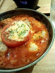 焼きトマトとチキンのトマトクリームドリア